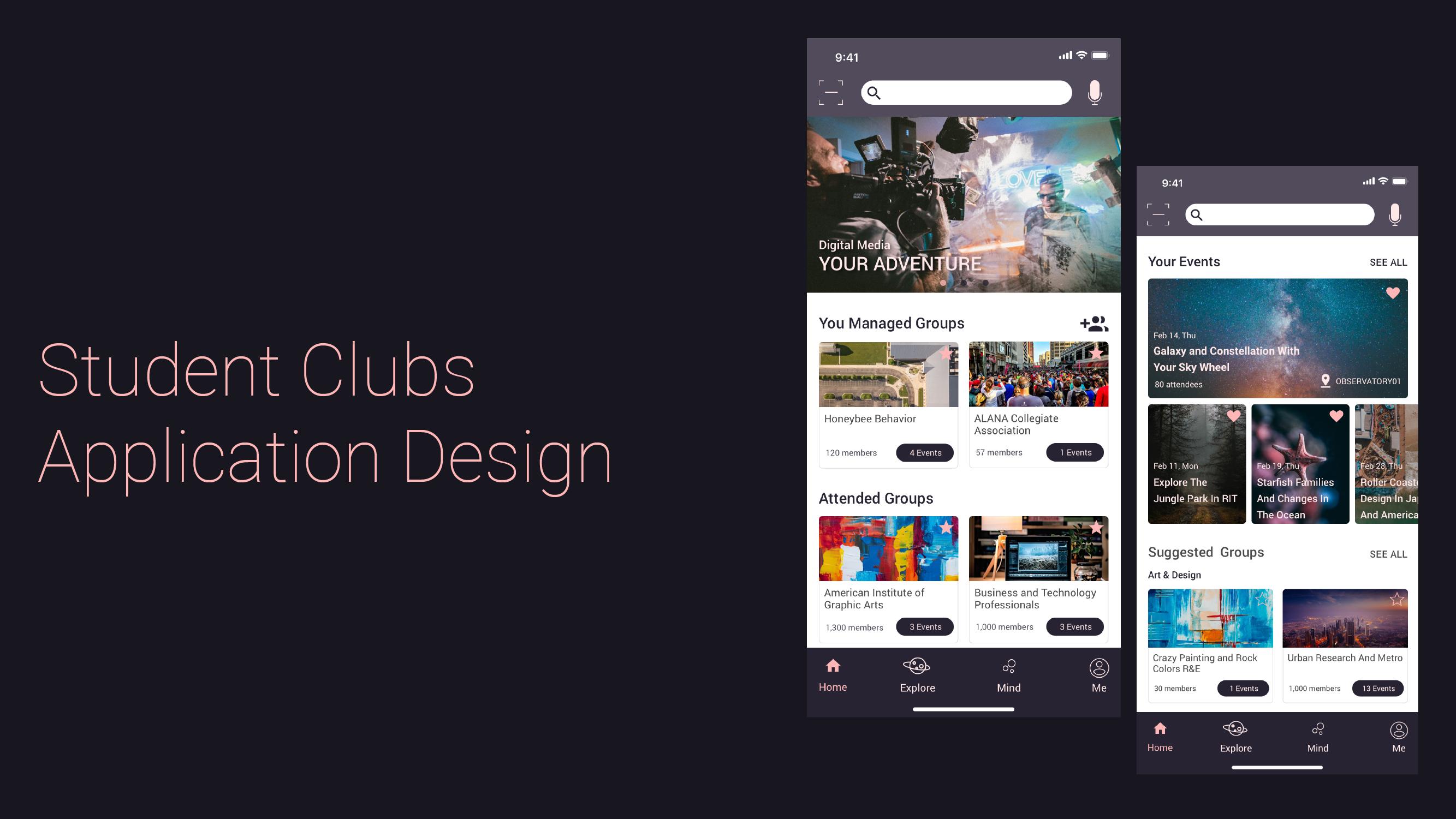 Student Clubs App Design